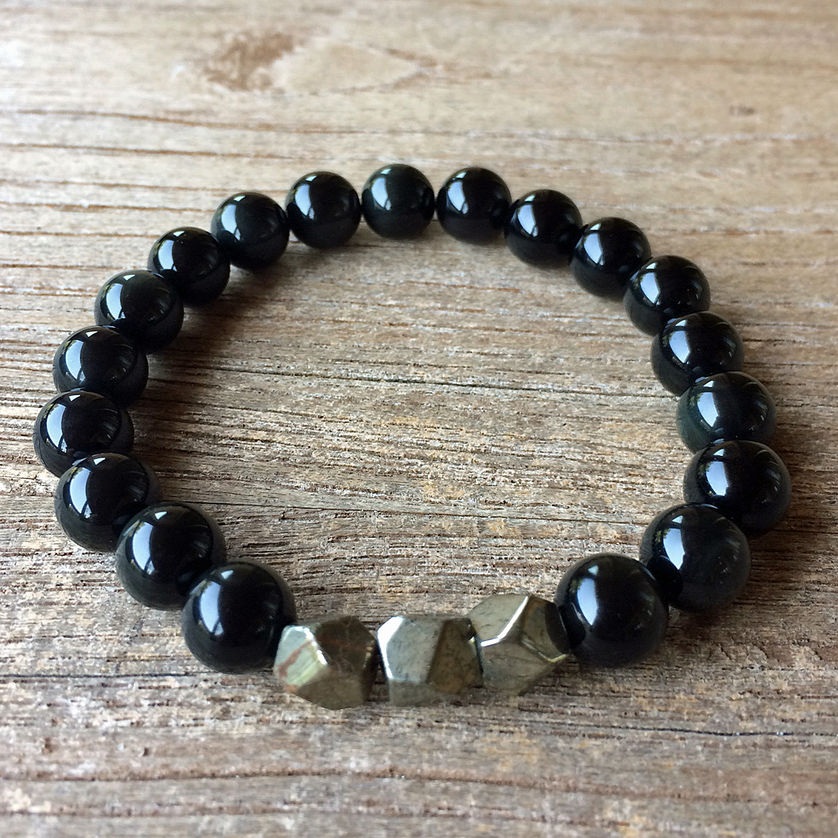 Boyfriend beads- Obsidian and Pyrite