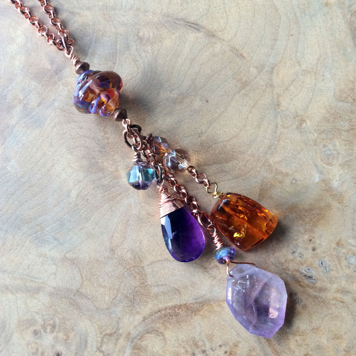 Amethyst and amber necklace